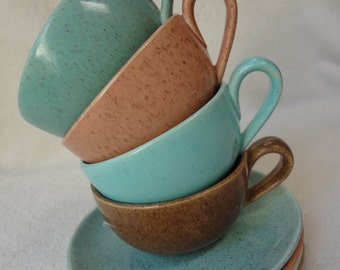 Vintage Laurel of California Pottery Speckled Mid Century Cups and Saucers