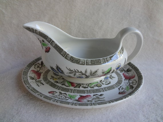 Ridgway Staffordshire Indian Tree Gravy Boat and Underplate