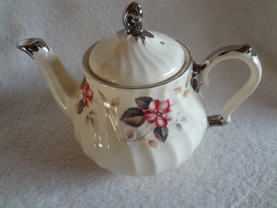 Vintage Sadler Teapot with Silver Trim and Flowers