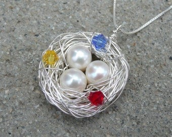 3 Eggs Bird's Nest Birthstone Necklace & Chain - Argentium Sterling Silver Pendant - Made to Order