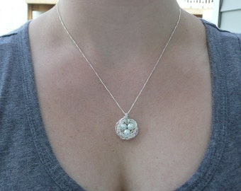 Bird's Nest Necklace & Chain - Argentium Sterling Silver Pendant
