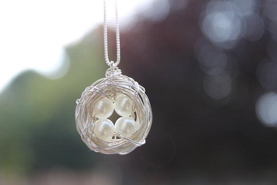 4 Eggs Bird's Nest Necklace & Chain - Argentium Sterling Silver Pendant