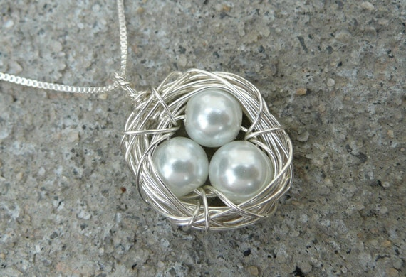 3 Eggs Bird's Nest Necklace & Chain - Argentium Sterling Silver Pendant