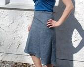Wrap Skirt in Hemp/Cotton pale indigo denim