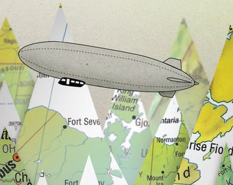 Map Illustrated postcard Zeppelin