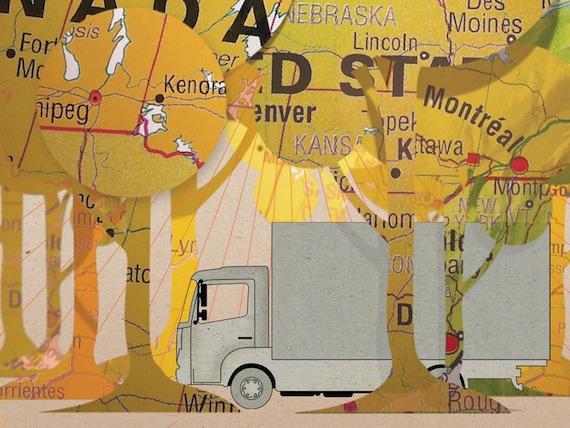Map Illustrated postcard Truck
