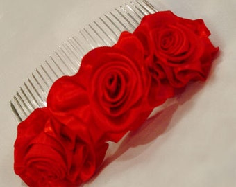 Red Satin Ribbon Roses Handfolded Comb or Barrette