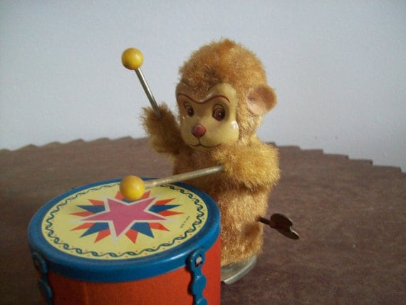 Vintage Wind Up Toy Monkey Playing Drum Works Great By