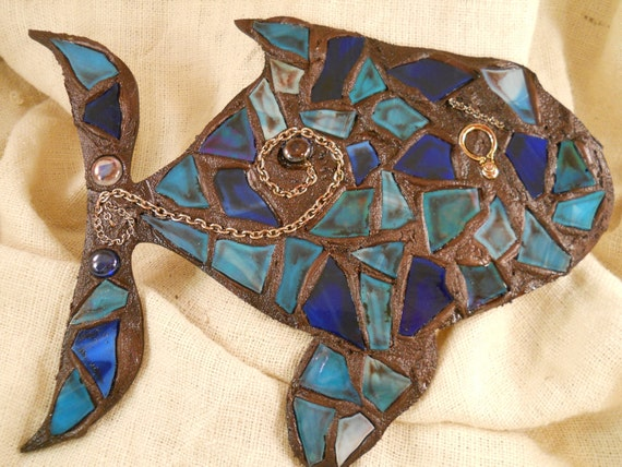 Turquoise and Blue Stained Glass Fish CUSTOM COLORS AVAILABLE