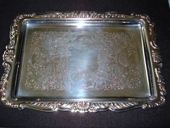 Vintage Leonard Silverplate Rectangular Tray Etching & Scrolled Edges