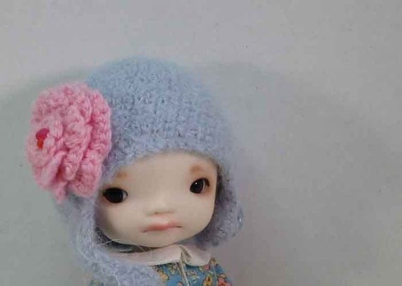 Doll Felted Helmet - Quiet Lilac Alpaca - Lati Yellow-Enyo-Pukifee - Secret Doll Persons
