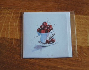 Cherries Greetings Card Watercolour Print - 4 x 4 (10 x 10 cm) - Cherry Ripe