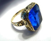 Custom order Final payment  pmt. 3  for Marilyn Solid 14 k gold cobalt stone ring from 1889 worlds fair Paris, France , sz 6.5 Free shipping