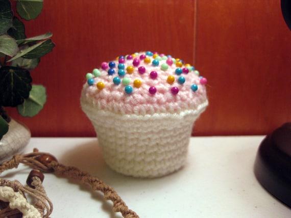 CLEARANCE: Pink & White Crocheted Cupcake Pincushion