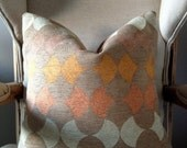 Coral Peach, and white Art Deco Style Pillow - 18 in Pillow Cover