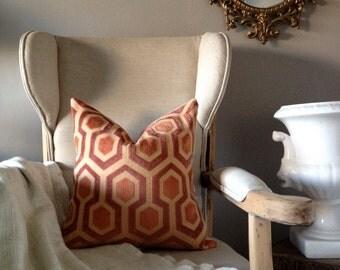 Art Deco Peach & Mauve Pillow - 18 Inch Covers