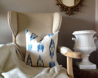Blue and White Ikat Pillow Cover 18-20""