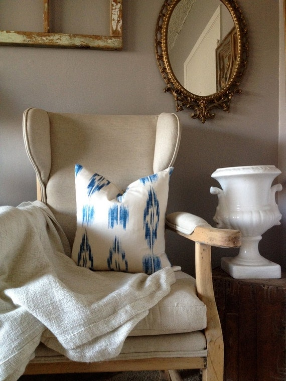 Reserved Listing for Carley Litchfield - A Pair of Royal Blue and Off-White Ikat Pillows - 20 in Pillow Cover