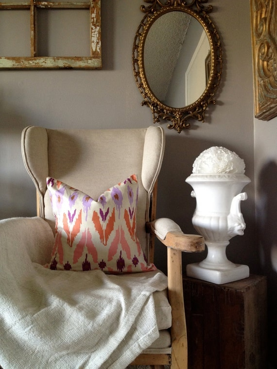 Coral Pink & Purple Ikat Print Pillow Cover