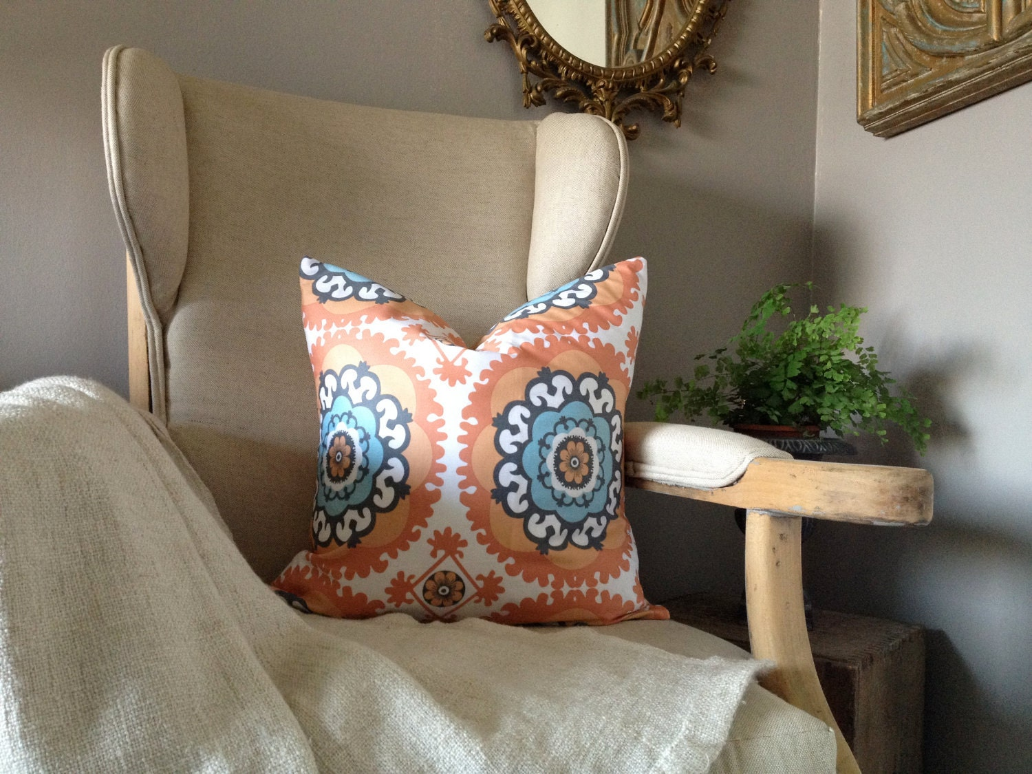 Decorative Pillows Orange And Blue : Blue and Orange Medallion Ikat Pillow Cover 18''