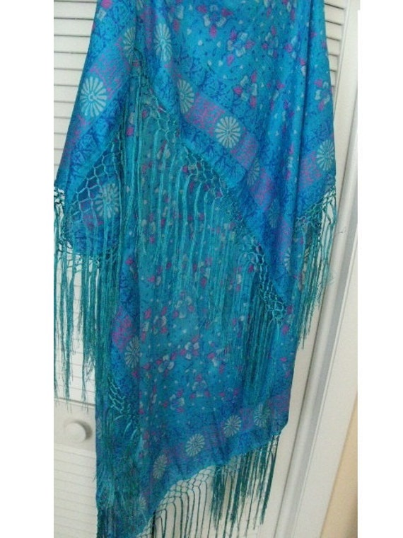 Pls Dont Buy/Hold for JUDI/Shawl /BLUES/ Silk with 6 inch Fringe