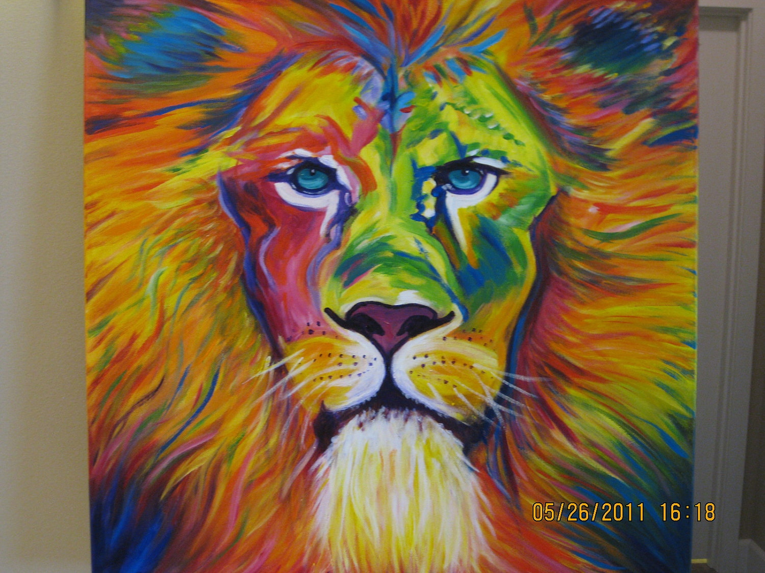 Colorful lion painting - photo#7