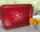 Shabby cottage dinner tray-vintage deep red floral dinner tray in lovely cottage chic style