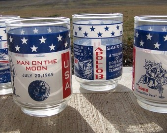 Vintage 1960's Apollo Glassware - Retro Red + White + Blue Astronaut Tumblers From Space, Mid Century Hipster Barware, ONE GLASS ONLY