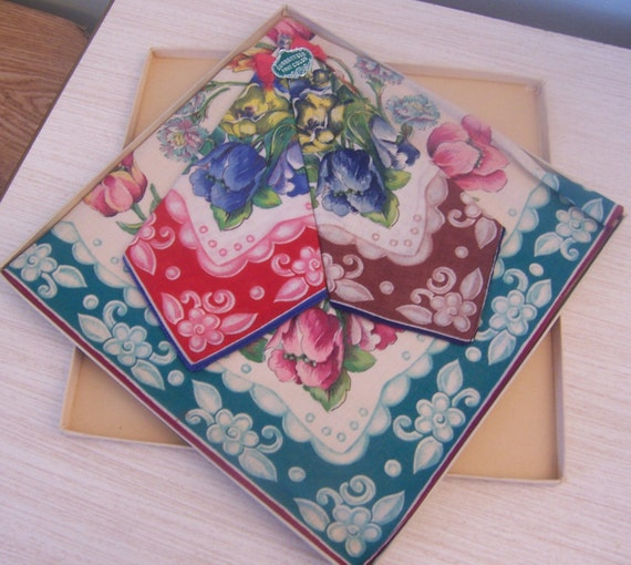 1940's set of vintage floral shabby chic handkerchiefs-Bright floral retro handkerchiefs-vintage but still in orignal box and unused