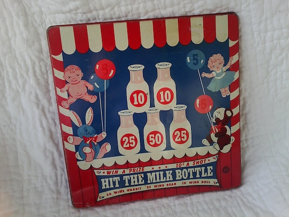 Cyber Monday SaleAntique Wyandotte Toy-vintage metal lithograph game board for children in red, white and blueSALE