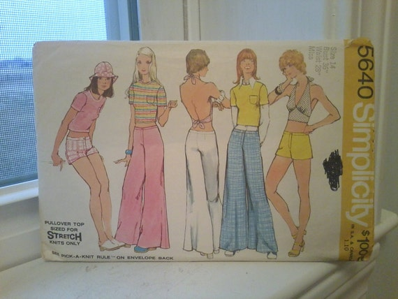 Totally MOD halter top and bellbottom pants pattern-vintage pattern by SimplicitySALE