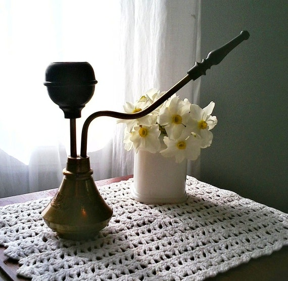 """Vintage brass hooka from India-mid-century intricate and ornate """"smoking"""" hooka"""