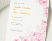 Summer Pink Flower Wedding Card - Save the Date Card
