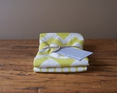 Cotton/Linen Tea Towels, Set of Two, Hand Printed Chevron and Bitty Dot in Citrus