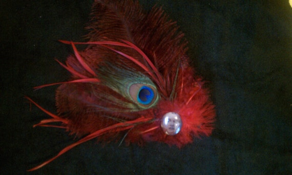 Phoenix Rising Flaming Peacock Burlesque Fascinator