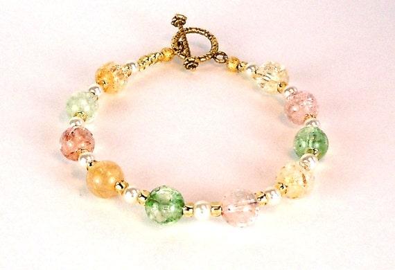 Beaded Quartz Bracelet - Gemstone Bracelet - Pearl Bracelet - Seed Beads - Toggle Clasp