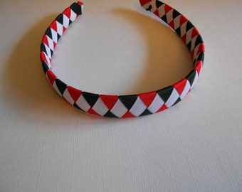 Red, black, and white woven headband
