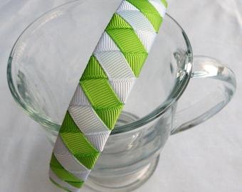 Green and White Woven Headband