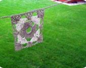 Cream granny square crocheted banner
