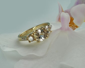 Gold Three Stone Ring, Herkimer Diamond Ring, Unique Engagement Ring, Conflict Free Engagement Ring, Custom Gold Ring