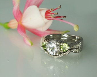 Snow White Herkimer Diamond and Perdiot  Engagement Ring Only