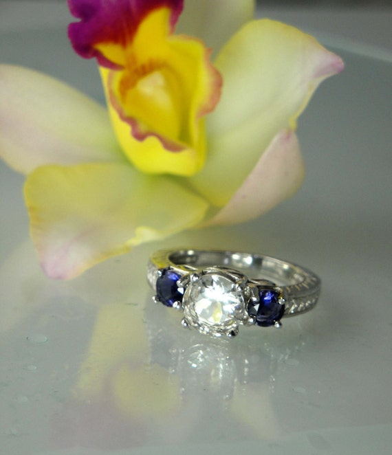 Reserved Final Payment for Betty  Herkimer Diamond and Blue Iolite Sterling Silver Ring with Two Matching Sterling Bands