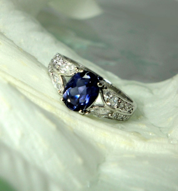 Brilliant Perry Winkle Purple Natural Iolite And White Topaz Sterling Antique Style Ring