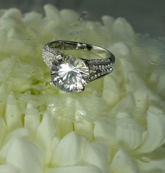 Herkimer Diamond Engagement Ring Fantasy Cut Sterling Silver