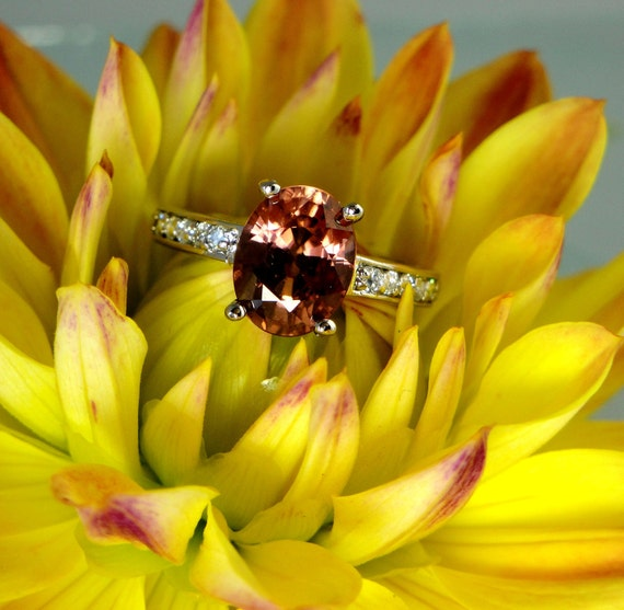 Beautiful All Natural Strawberry Zircon and White Topaz Sterling Silver Ring green gem company