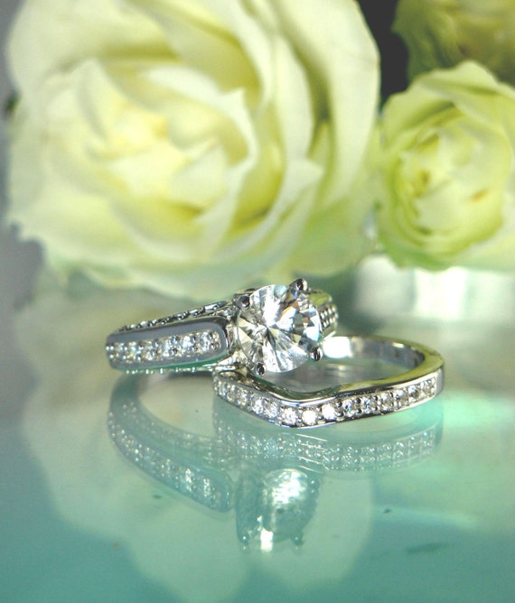Herkimer Diamond Engagement Ring and Matching White Topaz Band Sterling Silver