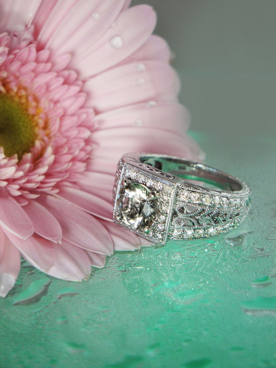 Reserved Last Payment Herkimer Diamond Ring 14K  White Gold  Diamond & Filigreed Accents