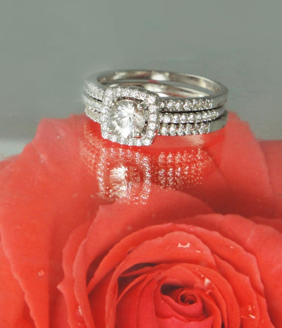 Herkimer Diamond Engagement Ring Stackable Three Bands by greengem