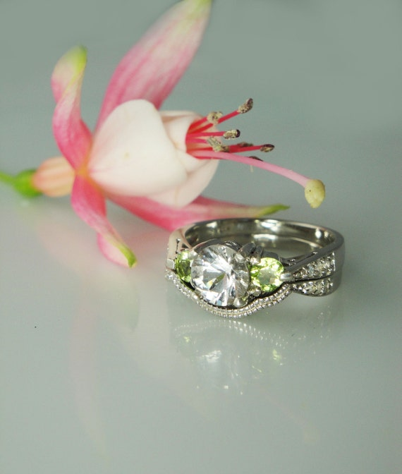 reserved first payment Herkimer Diamond and Peridot  Antique Style Engagement Ring and Wedding Band Sterling silver and White Topaz