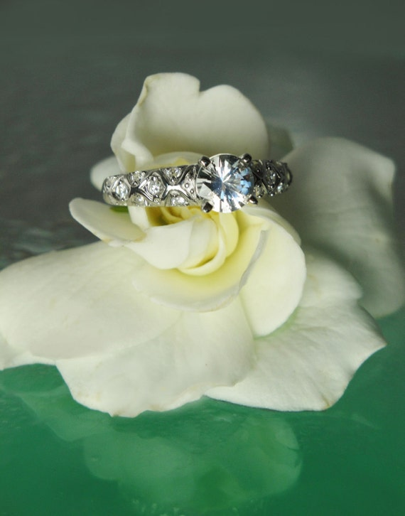 Herkimer Diamond and White Topaz Ring Antique Style Sterling Silver Engagement Ring by greengem